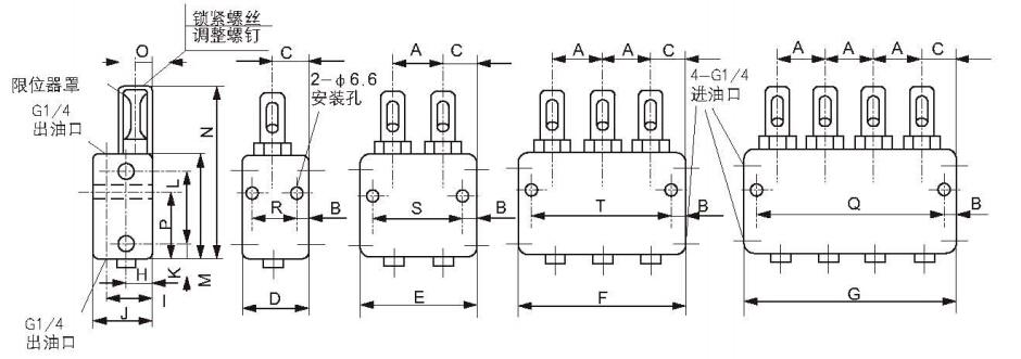 双线分配器与每两个润滑点相连通的活塞孔中分别有一